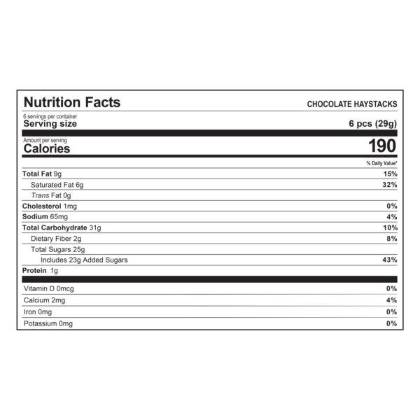Haystacks Chocolate Nutrition Information