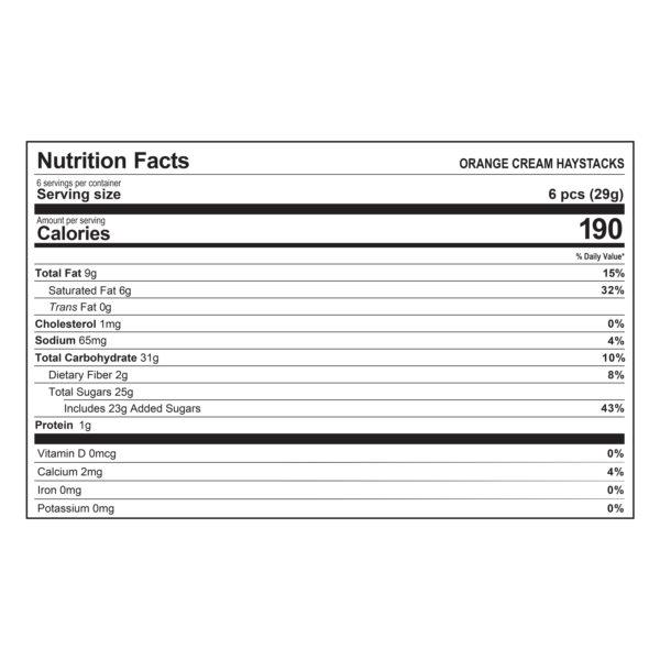 Haystacks Orange Cream Nutrition Information
