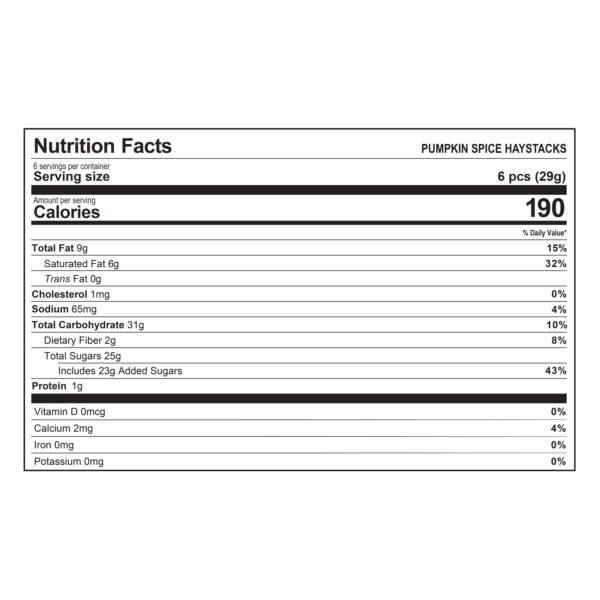 Haystacks Pumpkin Spice Nutrition Information