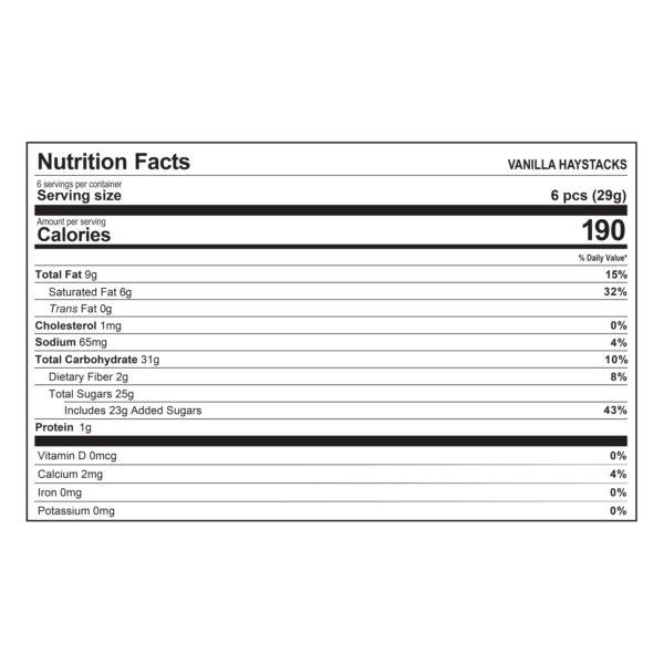 Haystacks Vanilla Nutrition Information